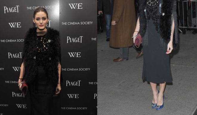 """e9ba2e8fd964 Get Olivia Palermo's Manolo Blahnik Something Blue Satin Pumps and Mulberry  Conker Suede Bayswater Clutch, Worn at the Screening of """"W.E."""" in New York  City ..."""