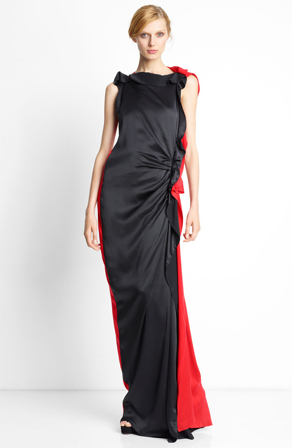 lanvin-side-ruffle-bicolor-silk-gown