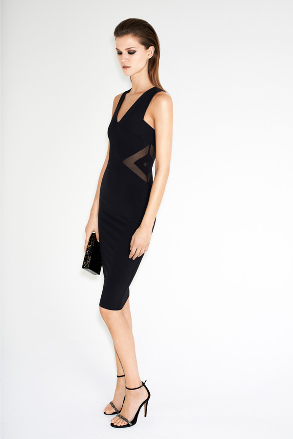 zara-twelve-lookbook-kasia-struss-fitted-dress-with-sheer-cutouts-sandals-with-sparkly-straps