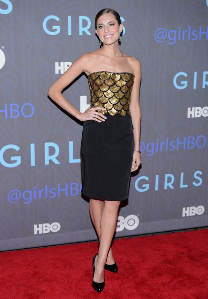 allison-williams-girls-season-2-premiere-new-york-city-altuzarra-spring-2013-dress-giuseppe-zanotti-gold-heel-black-patent-point-toe-pumps