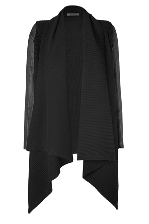 donna-karan-black-leather-sleeve-wool-cashmere-cozy-cardigan