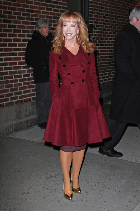 kathy-griffin-late-show-with-david-letterman-new-york-city-robert-rodriguez-womens-fit-and-flare-overcoat-giuseppe-zanotti-frida-pumps