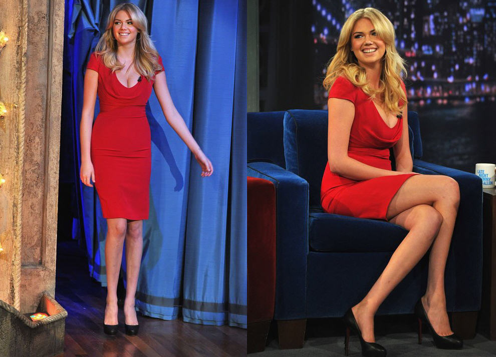kate-upton-late-night-with-jimmy-fallon-alexander-mcqueen-cowl-neck-dress-christian-louboutin-rolando-hidden-platform-pumps-2