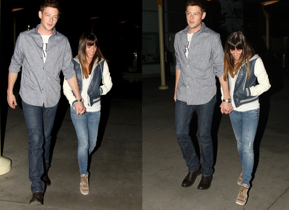 Get Lea Michele S Obey Varsity Lover Jacket And Ash Suede Bowie Wedge Sneakers Worn At The