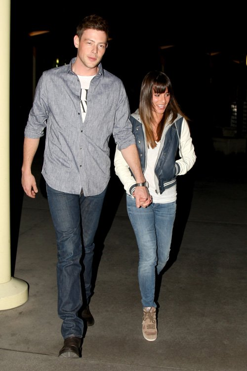 lea-michele-cory-monteith-arclight-theatre-hollywood-obey-varsity-lover-jacket-ash-suede-bowie-wedge-sneakers
