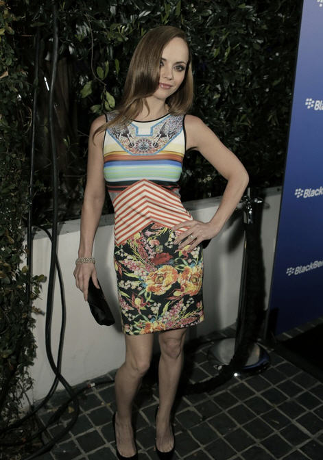 christina-ricci-blackberry-z10-launch-clover-canyon-cool-rider-pencil-dress
