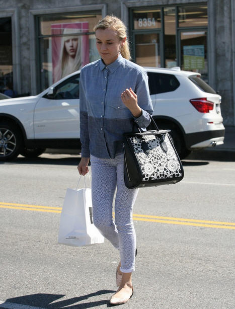 diane-kruger-joan-on-the-third-zara-two-tone-chambray-shirt-ag-adriano-goldschmied-jeans-31-phillip-lim-blush-pink-dorsay-flats-alexander-mcqueen-heroine-laser-cut-calf-hair-bag