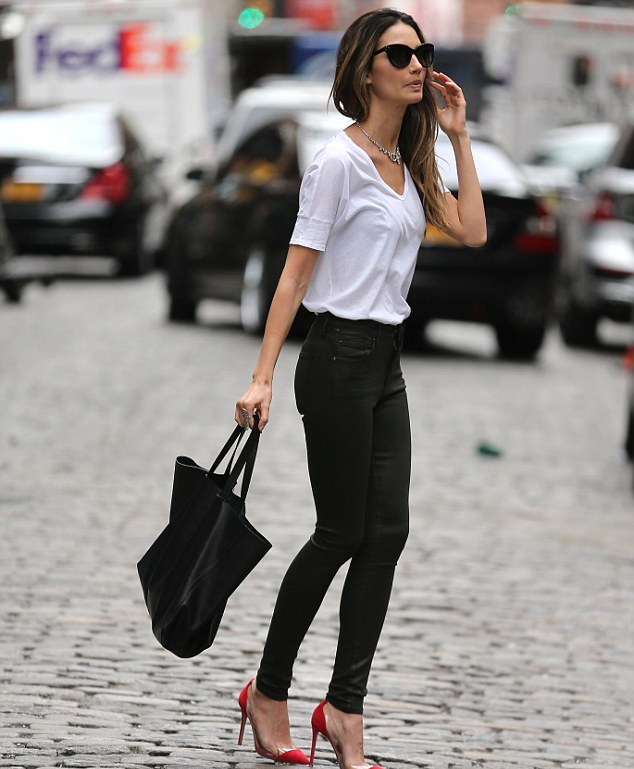 lily-aldridge-new-york-city-j-brand-rocket-high-rise-leatherette-skinny-jeans-gianvito-rossi-pvc-suede-pumps