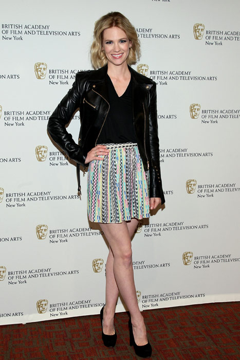 january-jones-bafta-mad-men-panel-new-york-city-versace-black-leather-jacket-parker-bri-skirt-miu-miu-black-suede-pumps
