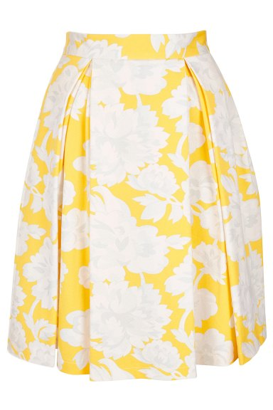 topshop-yellow-floral-pleat-calf-skirt