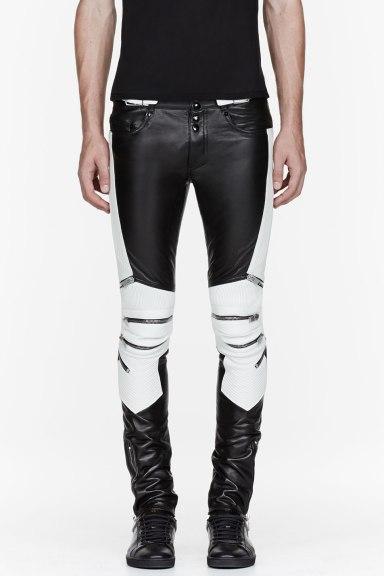 saint-laurent-black-and-white-ribbed-zipped-biker-pants