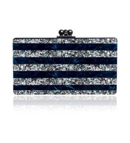 edie-parker-spring-2014-jean-striped-navy-silver-clutch