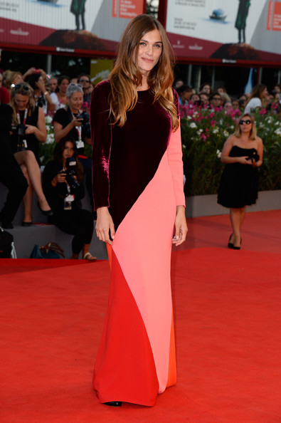 elisa-sednaoui-under-the-skin-premiere-70th-venice-international-film-festival-stella-mccartney-burgundy-colorblocked-silk-velvet-gown