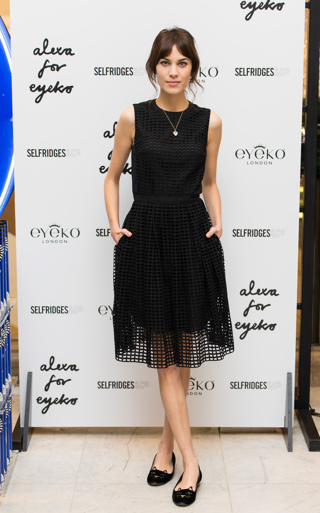 alexa-chung-eyeko-makeup-launch-selfridges-london-carven-resort-2014-dress