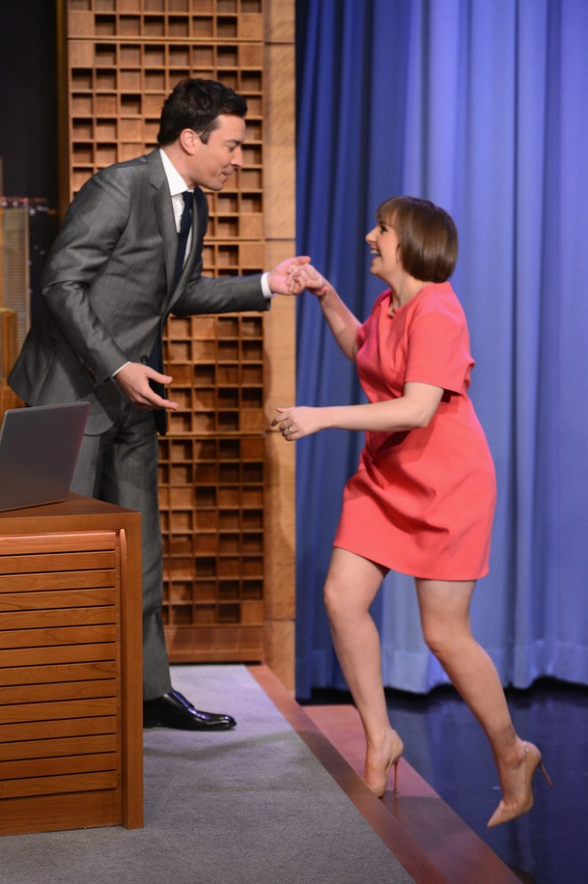 lena-dunham-the-tonight-show-starring-jimmy-fallon-narciso-rodriguez-pre-fall-2014-dress
