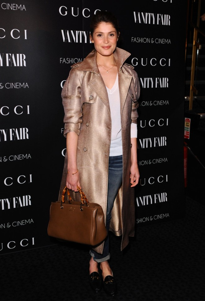 gemma-arterton-gucci-vanity-fair-the-director-london-screening-gucci-nude-double-breasted-canvas-trench-bamboo-leather-shopper-tote-patent-leather-horsebit-loafers