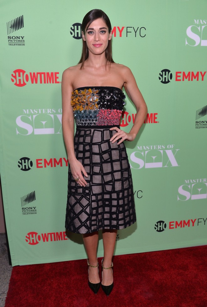 lizzy-caplan-showtimes-masters-of-sex-panel-roksanda-ilincic-spring-2014-dress-jimmy-choo-mystic-pumps-1